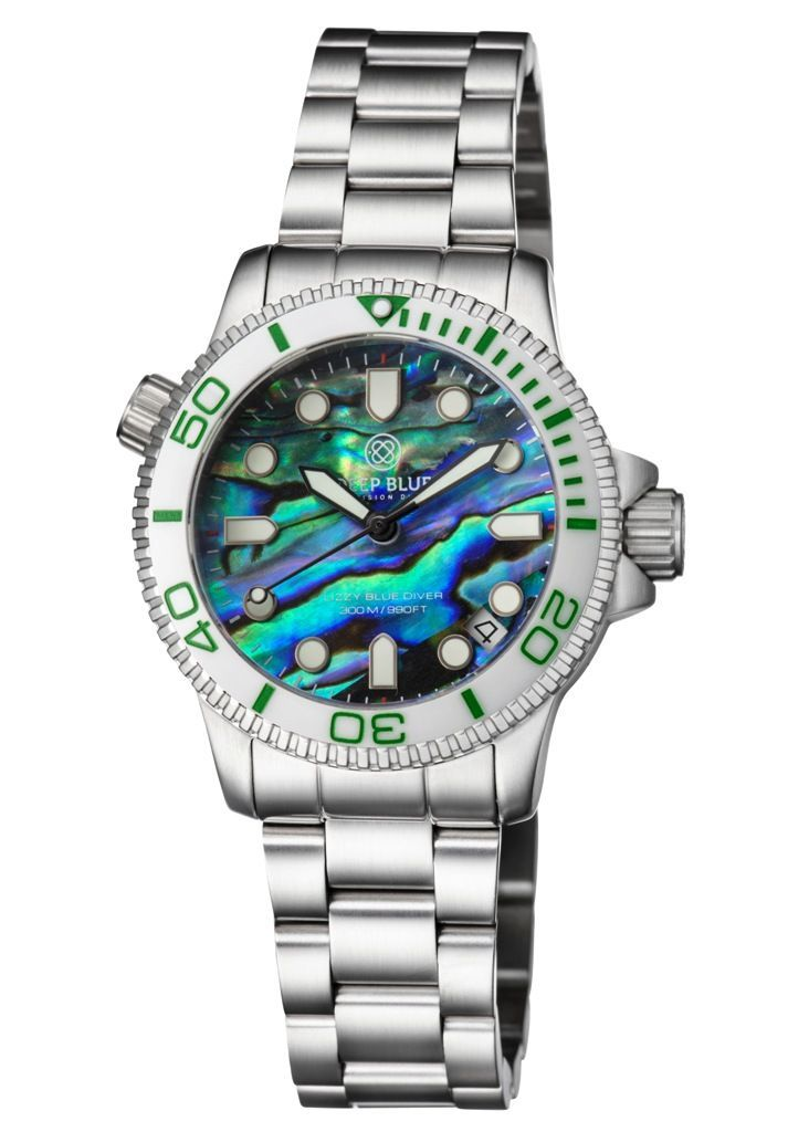 Lizzy Blue Diver Ceramic White/Green Abalone Shell