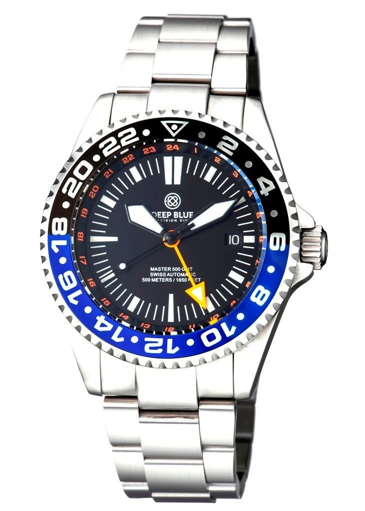 Master 500 42MM GMT Swiss Auto Diver Black/Blue-Orange Hand